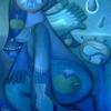 Marion Lucka: Engel am Wasser, Öl, 70 x 100 cm (2006)