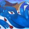 Marion Lucka: Akt in Blau, 60 x 80 cm (2005)