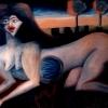 Marion Lucka: Frau mit Wasserbauch, 30 x 40 cm (1994)