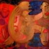 Marion Lucka: Zwei Frauen, Öl, 120 x 150 cm (2000)