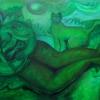 """Marion Lucka: """"Grasjungfrau auf der Wiese"""", Öl, 70 x 120 cm (2017)"""