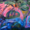 Marion Lucka: Frau in einer Landschaft, Öl, 120 x 150 cm (1997)