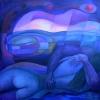 Marion Lucka: Umarmung bei Sonneuntergang 100 x 100 cm (1993)
