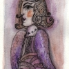 "Marion Lucka: Aquarell "" Oktoberengel"" 10 x 15 cm (2017)"