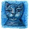Marion Lucka: Blauer Katzenkopf, Aquarell 5 x 5 cm (2016)