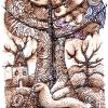 """Aquarell """" Brauner """"Baum"""" 10 x 15 cm (2011)"""