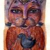 Marion Lucka: Dezemberkatze, Aquarell (2005)