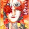 Marion Lucka: Feuerfrau, Aquarell, 20 x 30 cm (2000)
