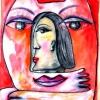 Marion Lucka: Geborgen, Aqarell, 30 x 40 cm (2003)