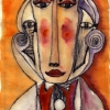 Marion Lucka: Gesicht, Aquarell,15 x 20 cm (2004)