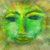 Marion Lucka: Grüne Sonne, Aquarell,20 x 30 cm (2003)