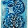 "Aquarell "" Blauengel 1"" 6 x 8 cm (2018)"