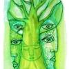 "Marion Lucka: Aquarell "" Am grünen Baum 1"" 10 x 12 cm (2018)"