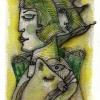 """Marion Lucka: Aquarell """" Katzenschlaf"""" 10 x 15 cm (2017)"""