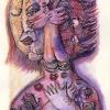 """Marion Lucka: Aquarell"""" Engel im Kopf"""" 10 x 15 cm (2013)"""