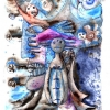 Marion Lucka: Neujahr, Tusche/Aquarell 20 x 30 cm, 2012