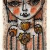 Marion Lucka: Ostergesicht2, 8 x 6 cm, Aquarell( 2016)
