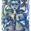 Marion Lucka: Samstagnachmittag, Tusche/Aquarell 10 x 15 cm (2012)