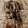 "Marion Lucka: Aquarell ""Paar"" 10 x 20 cm (1988)"