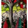 """Marion Lucka: Aquarell """" Dunkelbaum"""" 15 x 20 cm (1992)"""