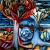 Marion Lucka: Baum mit Rose, Aquarell, 60 x 80 cm (1984) sold