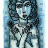 """Marion Lucka: Aquarell """"Blaufrau"""" 7 x 13 cm"""