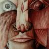 "Marion Lucka: Aquarell "" Gesicht"" 20 x 30 cm (1985)"