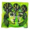 "Marion Lucka: Aquarell "" Grünes Paar"" 12 x 12 cm (2018)"