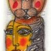 Marion Lucka: Aquarell, Herbstkatze, 7 x 10 cm (2016)