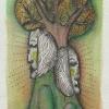 """Marion Lucka: Aquarell"""" Im Baum"""" 10 x 15 cm (Januar 2018)"""