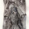 Marion Lucka: Frau, Fisch, Sonne, Aquarell, 7 x 10 cm (2016)