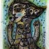 Marion Lucka: Schmetteringsfrau, Tusche/Aquarell, 6 x 8 cm (2016)