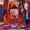 Marion Lucka: Rote Landschaft, Aquarell, 20 x 30 cm (1992)