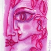 "Marion Lucka: Tusche/Aquarell ""Lilakuss"" 10 x 15 cm (2016)"
