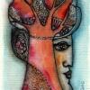 Marion Lucka: Maibaum, Aquarell, 6 x 10 cm (2016)