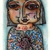 Marion Lucka: Maigesicht, Aquarell, 6 x 9 cm (2016)