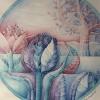"""Marion Lucka: Aquarell """"Landschaft"""" rund 25 cm (1985)"""