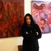 """Marion Lucka: """"Rote Bildergeschichten"""" im Modewerk-Viania Dessous zur Kunstnacht 2017(Aufbau)"""