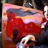 Marion Lucka: Mit der roten Frau und Katze (2013)
