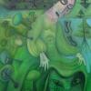 """Marion Lucka: Ölgemälde """" Grüne Pilze in Winter"""" 70 x 100 cm (2018)"""