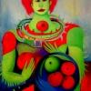 Marion Lucka: Apfelmensch, Öl, 90 x 120 cm (1993)