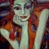 Marion Lucka: Beobachterin, Acryl, 60 x 80 cm (1996)