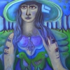 "Ölgemälde ""Blaue mit Hut"" 60 x 80 cm (2020)"
