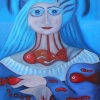 """Marion Lucka: Ölgemälde """"Frau mit Fischkette"""" 50 x 70 cm (2019)"""
