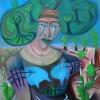"""Marion Lucka: Ölgemälde """"Frau mit Baumhut"""" 60 x 80 cm (2019)"""
