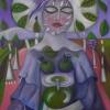 Marion Lucka: Frau mit Frühlingskrone, 60 x 80 cm (2015)