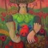 Marion Lucka: Frau mit Hut im August, 70 x 100 cm (2014)