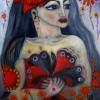 Marion Lucka: Frau mit Rothut, 50 x 60 cm (2015)