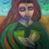 """Marion Lucka: Ölgemälde """"Frau und grüner Vogel"""" 60 x 80 cm (2018)"""