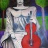 """Marion Lucka: Ölgemälde """" Geigenspielerin"""" 70 x 100 cm (1993)sold"""